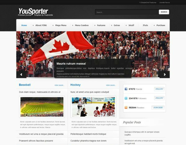template Joomla per i magazine sportivi