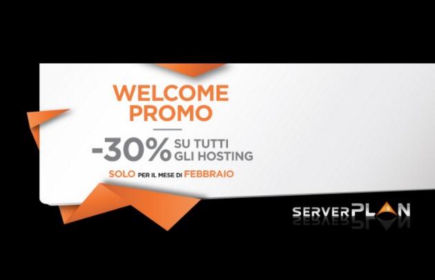 Sconto del 30% su hosting Serverplan a febbraio