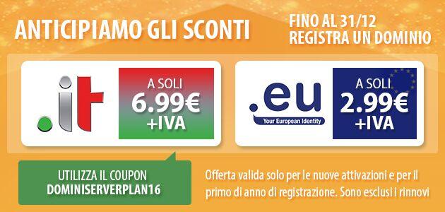 Offerta sui domini con estensioni .IT e .EU