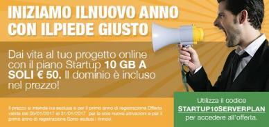 Offerta piano hosting Startup: 50 Euro + IVA per il primo anno
