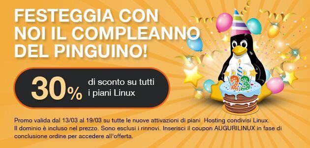 Buon compleanno Linux: sconto del 30% su tutti i piani hosting