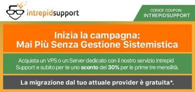 VPS e server dedicati: 30% di sconto per chi sceglie Intrepid Support