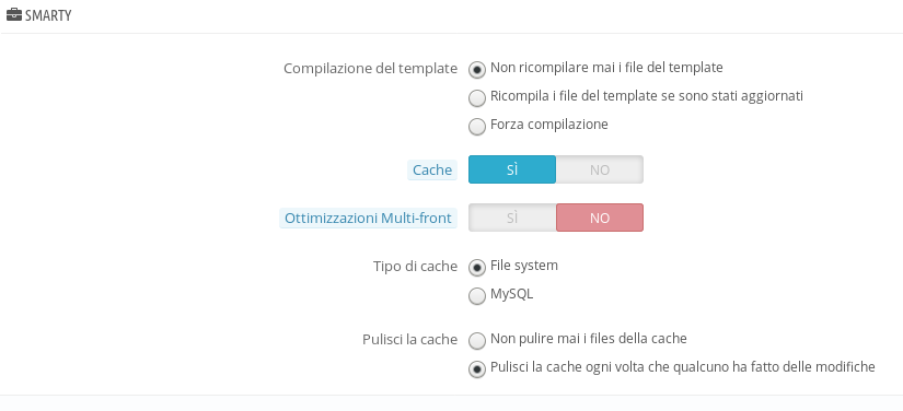 Prestashop - Configurazione - Cache smarty