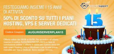 50% di sconto su tutti i piani hosting per i 15 anni di Serverplan