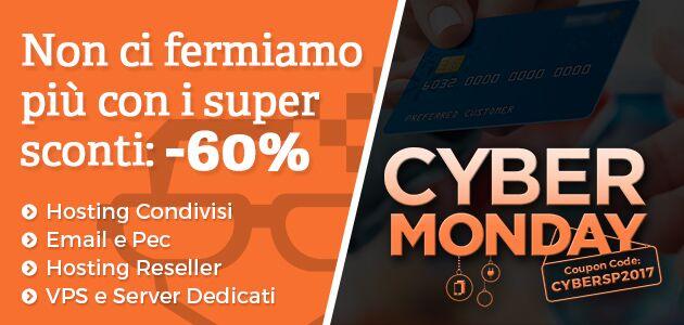 Cyber Monday: sconto del 60% su hosting, VPS e dedicati