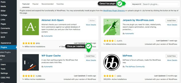 come installare plugin su wordpress
