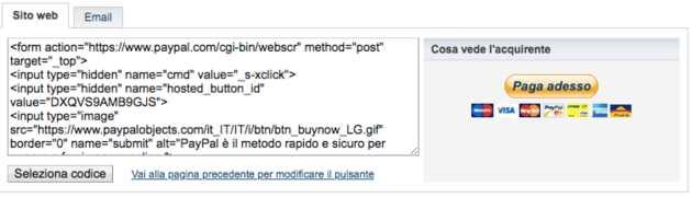 codice bottone paypal