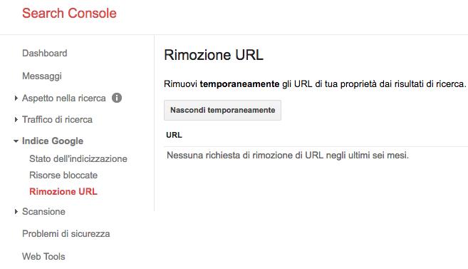 Rimozione URL di Google