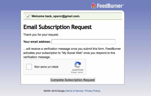 feddburner invio email