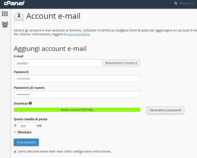 come creare un indirizzo email