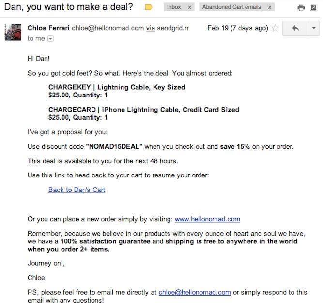email per carrelli abbandonati