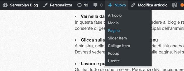 Come creare una pagina con WordPress
