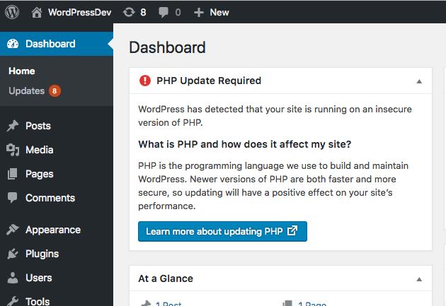 Usa PHP 7.3 o versione superiore