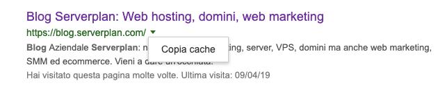 esempio di copia cache google