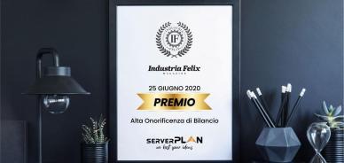 Anche nel 2020 Serverplan è stata premiata da Industria Felix come azienda virtuosa nel Lazio